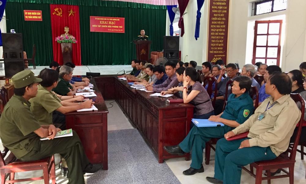 Thị trấn huyện  Hoàn thành xuất sắc Diễn tập Chiến đấu Khu vực Phòng thủ năm 2019