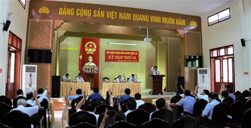 HĐND huyện Hương Khê khóa XX , tổ chức kỳ họp thứ 13