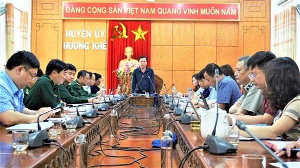 Thường trực Huyện ủy làm việc với các cơ quan khối Nội chính về nhiệm vụ quý II năm 2021.