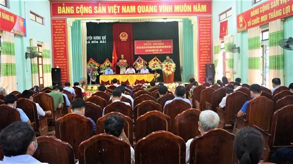 7 ứng cử viên Hội đồng nhân dân tỉnh tiếp xúc cử tri tại xã Hòa Hải