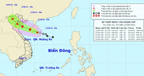CÔNG ĐIỆN Về việc chủ động ứng phó với diễn biến của vùng Áp thấp nhiệt đới